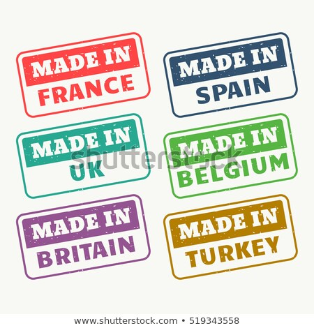 made in france, spain, uk, belgium, britain and turky stamps set Stock photo © SArts