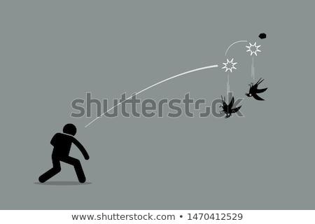 öl · kettő · madarak · egy · kő · rajz - stock fotó © lightsource