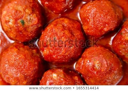 húsgombócok · paradicsomszósz · spagetti · tányér · étel · vacsora - stock fotó © monkey_business