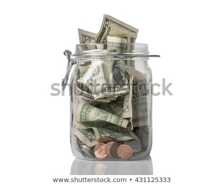 Borravaló bögre megtakarított pénz felső amerikai érmék Stock fotó © icemanj