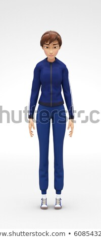 Tired, Sleepy, Drowsy Jenny - 3D Cartoon Female Character Sports Model Stock photo © Loud-Mango