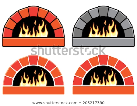vector clipart set of ovens with burning fire and pizza stock photo © freesoulproduction
