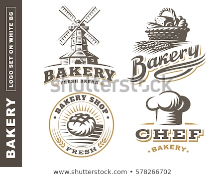 bakery shop emblem labels logo and design elements fresh bread and wheat vector illustration stock photo © leo_edition