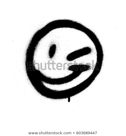 Graffiti emotikon kacsintás arc feketefehér festék Stock fotó © Melvin07