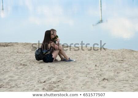 Mamãe filho areia lago praia bebê Foto stock © tekso