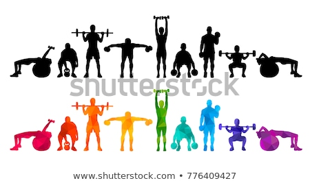 athletic girl sets weight on barbell in the gym Stock photo © chesterf
