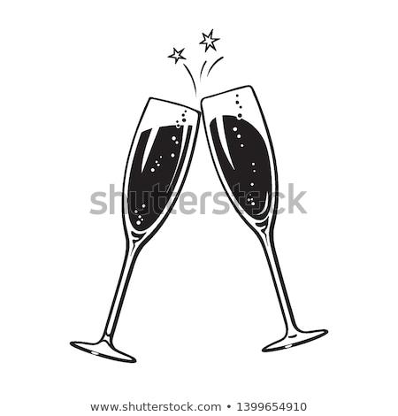 Paar Champagner Gläser Skizze Stil isoliert Stock foto © Zhukow