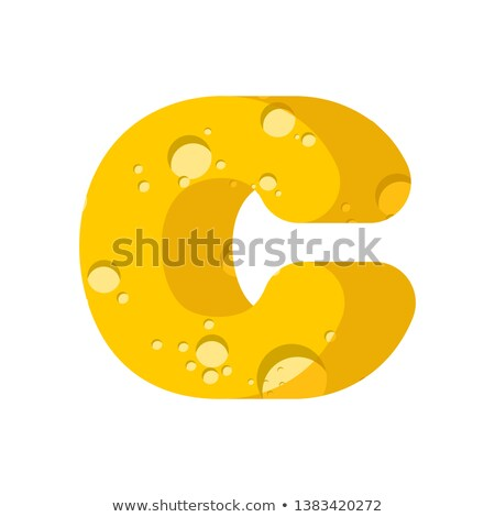 Letter C cheese font. Symbol of cheesy alphabet. Dairy Food type Stock photo © popaukropa