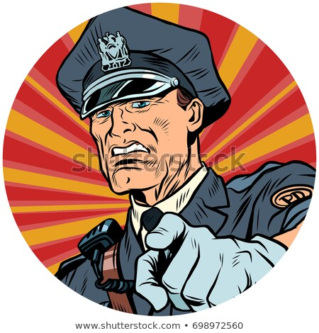 points serious police officer pop art avatar character icon Stock photo © studiostoks