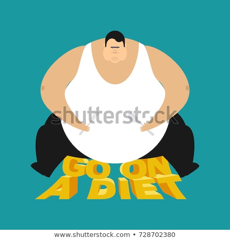 Gordura cara dieta homem vetor comida Foto stock © popaukropa