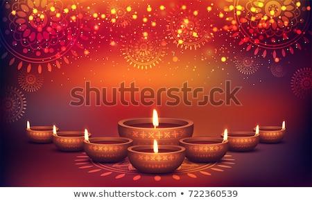 happy diwali background with diya and sparkles stock photo © sarts