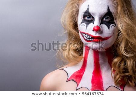 Fél arc portré nő halloween bohóc Stock fotó © deandrobot