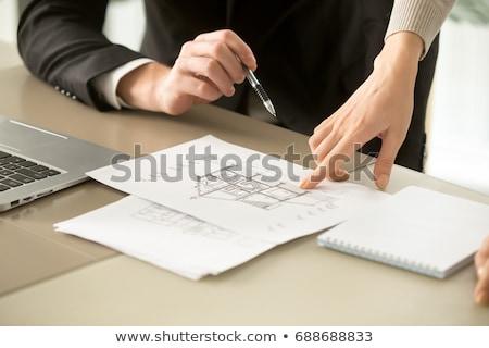 Kettő női munka iroda nő megbeszélés Stock fotó © IS2