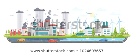 Colored smoke from pipes of factory. Industrial landscape. Plant Stock photo © MaryValery