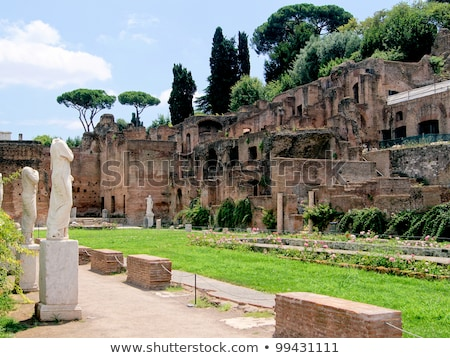 roman statue at house of the vestals in roman forum rome italy stock photo © ankarb