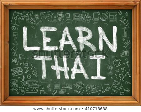 Foto d'archivio: Imparare · thai · verde · lavagna · doodle · icone