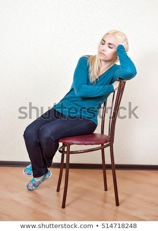 vrouw · vergadering · stoel · slapen · home · meubels - stockfoto © monkey_business