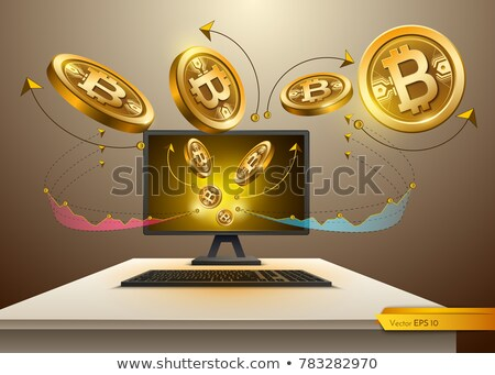 bitcoin · computer · icona · lungo · ombra · soldi - foto d'archivio © frimufilms