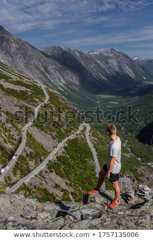 山 · ハイカー · 高い · 見える · 谷 · 女性 - ストックフォト © stevanovicigor
