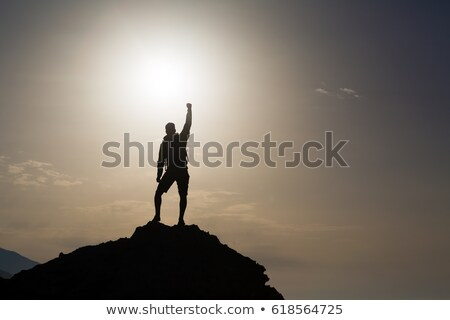 Man celebrating inspiring mountains view Stock photo © blasbike