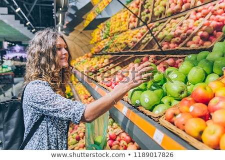 satın · alma · meyve · portre · kadın · turuncu · alışveriş · çantası - stok fotoğraf © is2