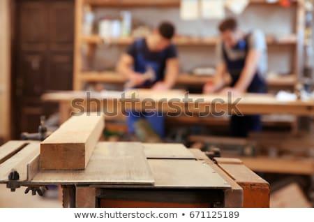 Due bello giovani uomini lavoro legname workshop Foto d'archivio © boggy