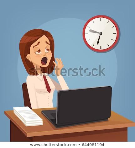 Mulher trabalhando noite jovem cansado Foto stock © stokkete