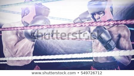 Bokser boksen houding ring man Stockfoto © wavebreak_media