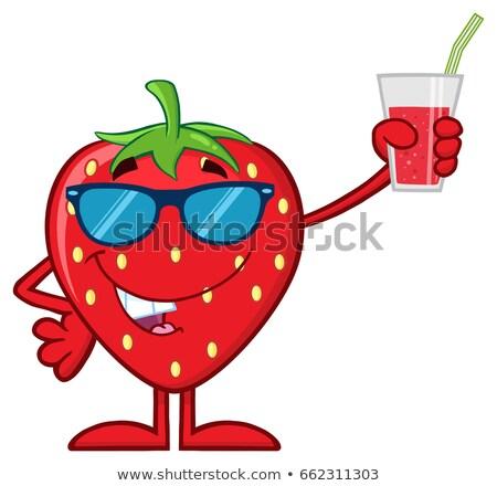 Căpşună fruct mascota de desene animate ochelari de soare Imagine de stoc © hittoon