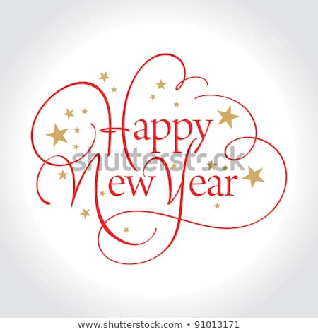 Happy New Year ornate handwriting lettering text Stock photo © orensila