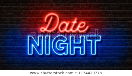 Neon murem data noc strony miłości Zdjęcia stock © Zerbor