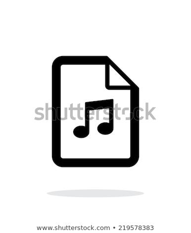 black and white music sound file icon vector illustration isolated on white background stock photo © kyryloff