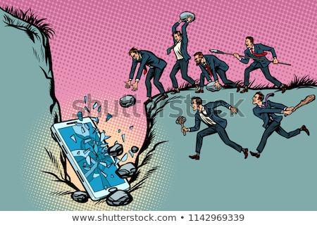 Savages businessmen kill a smartphone. Politics and censorship.  Stock photo © studiostoks