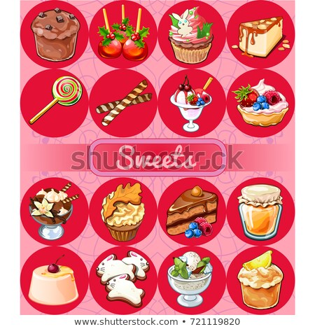 a set of delicious desserts and healthy food sketch for holiday stickers cards or party invitation stock photo © lady-luck