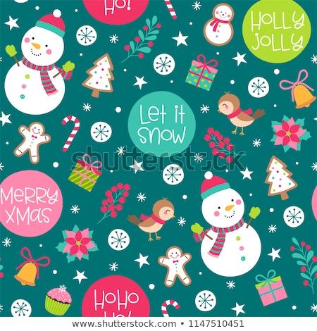 Christmas geschenkdoos snoep sneeuwpop speelgoed sneeuw Stockfoto © karandaev