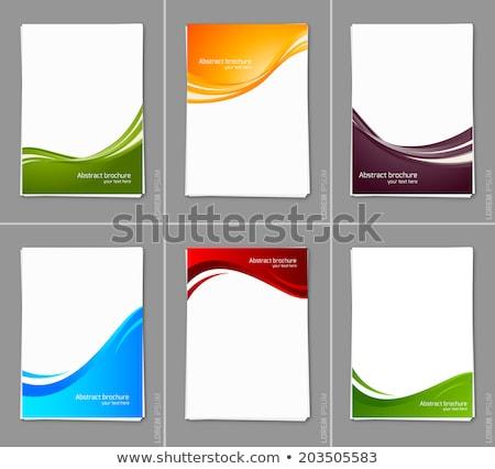 Rouge bleu ondulés affaires brochure modèle de conception Photo stock © SArts