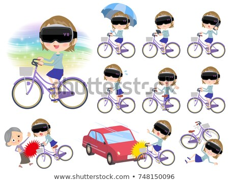 virtual reality goggle women_city bicycle Stock photo © toyotoyo