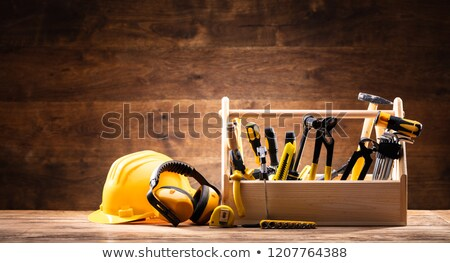 Safety Equipment Near Toolbox With Various Worktools Stock photo © AndreyPopov