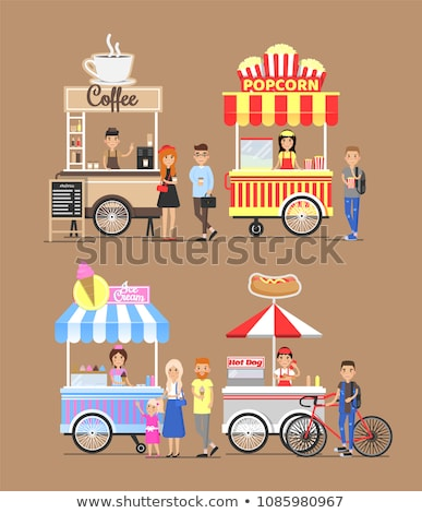 hot coffee street cart with vendor and buyers stock photo © robuart