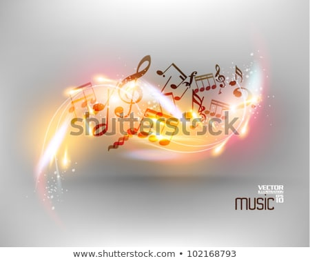 Border template with music notes in background stock photo © colematt