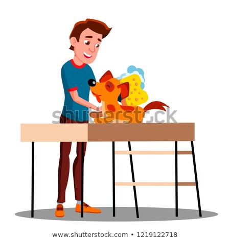 Teen Guy Washes The Dog Vector. Isolated Illustration Stock photo © pikepicture