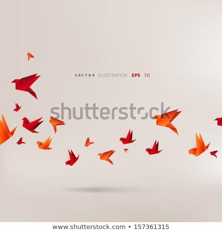 красный птица оригами изолированный белый фон Сток-фото © brulove