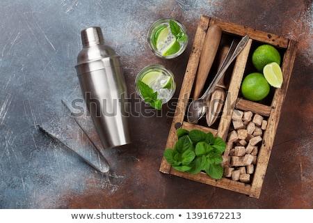 Mojito koktél hozzávalók doboz bár kellékek Stock fotó © karandaev