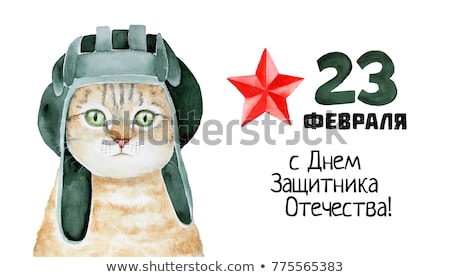 Cartoon greeting card for February 23 Defender of the Fatherland Day. Stock photo © mechanik
