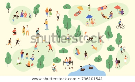 people in park walking dog vector illustration stock photo © robuart