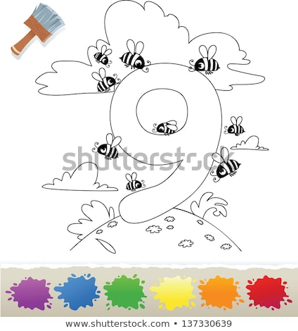 cartoon numbers collection coloring book Stock photo © izakowski