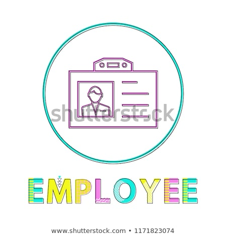employee name badge circle icon vector line art stock photo © robuart