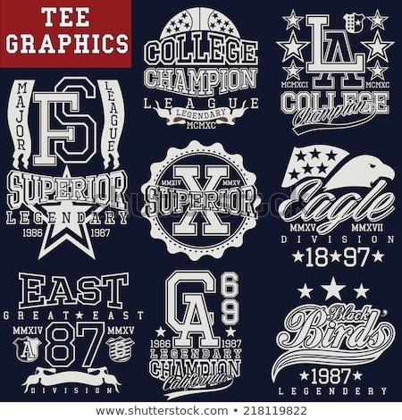 Tshirt pieczęć graficzne zestaw sportu nosić Zdjęcia stock © Andrei_
