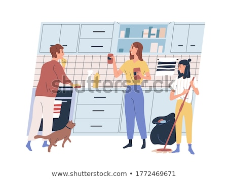 man with rag cleaning kitchen cupboard at home Stock photo © dolgachov