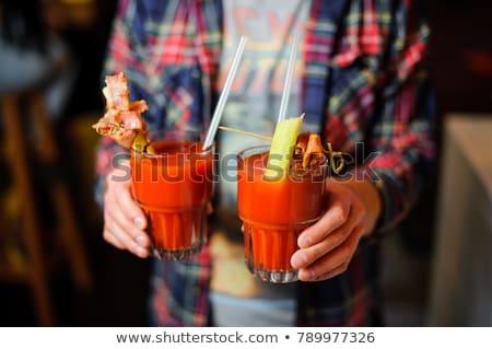 Deux verres sanglante céleri alimentaire boire Photo stock © Alex9500